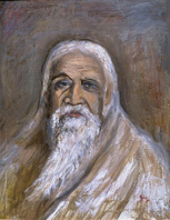 Sri Aurobindo - Painting in Oils by Jayalakshmi Satyendra