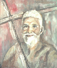 Ramana Maharishi from a painting in oils by Jayalakshmi Satyendra