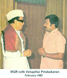 MGR with Velupillai Pirabaharan